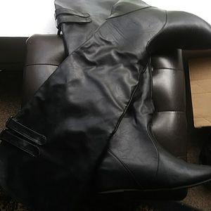 Double Buckle Knee Wide Calf Boots